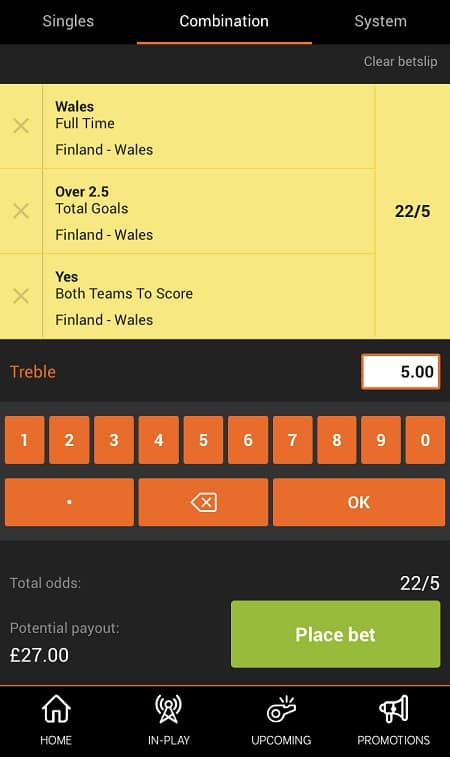 888Sport placing a bet
