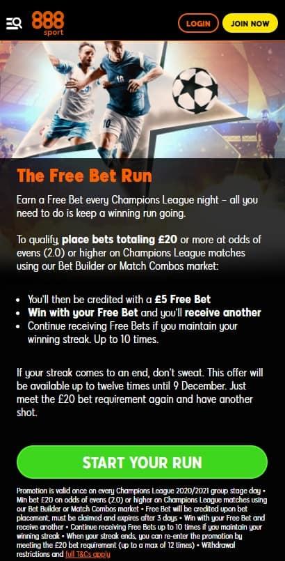 888 Free Bet Run