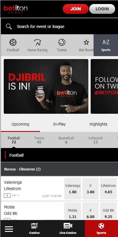 Betiton mobile website