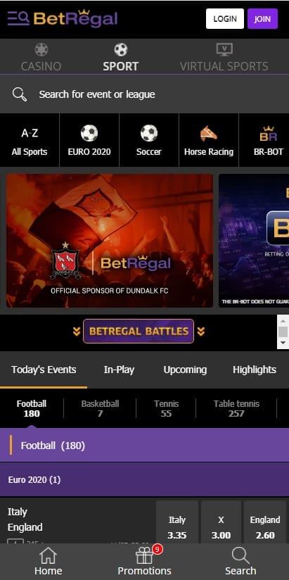 Betregal mobile website