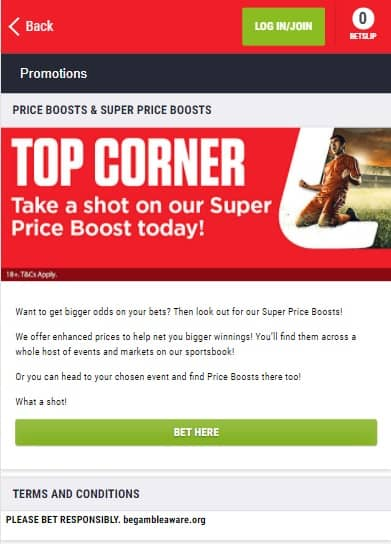 Ladbrokes Price Boost