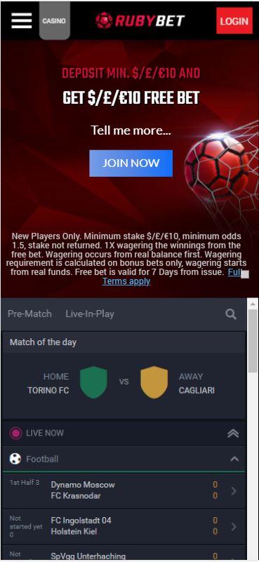 Ruby Bet football betting
