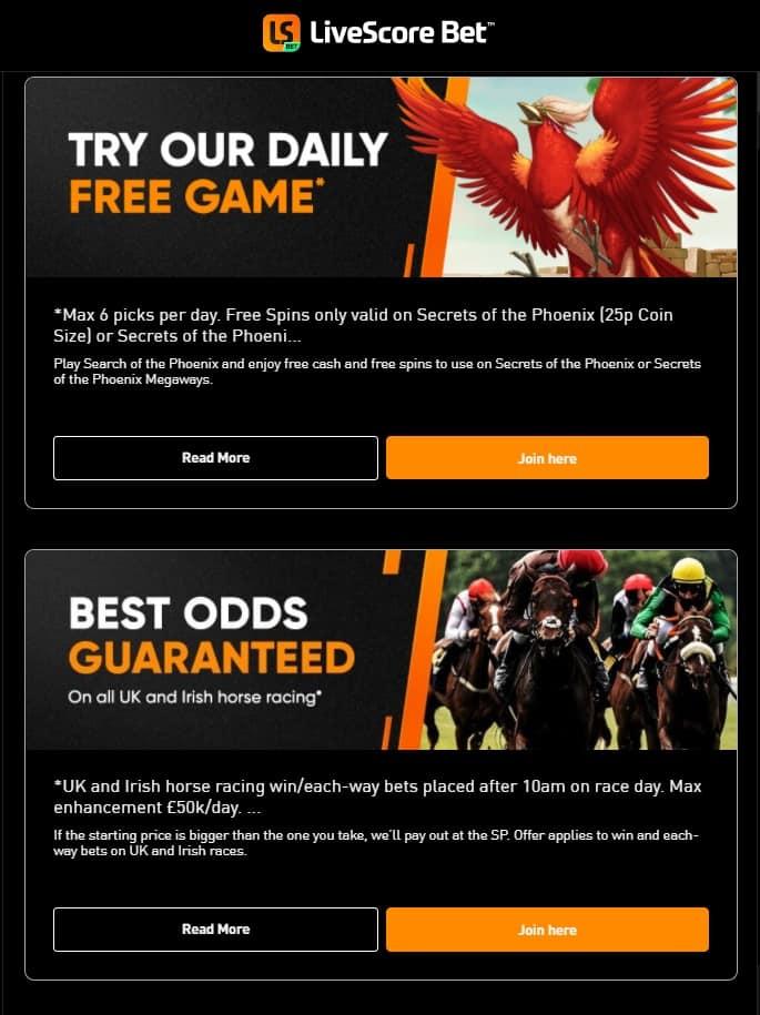 LiveScore Bet Promotions