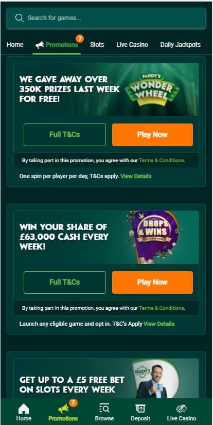 Paddy Power Casino Offers