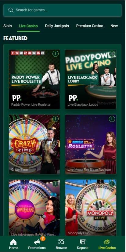 Paddy Power Live Casino